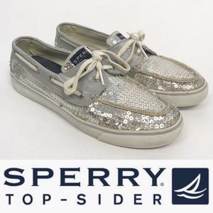 "Sperry Topsider ""Bahama"" silver sequin sneakers"